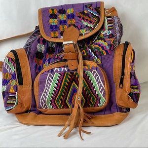 Backpack Woven Print with Leather Back and Trim